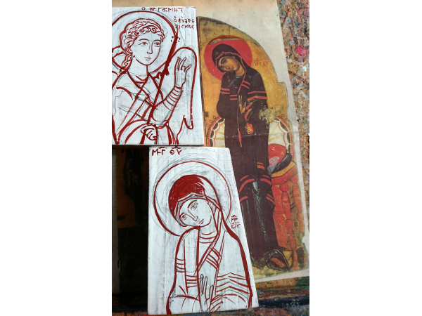 The first drawing of the religious icons