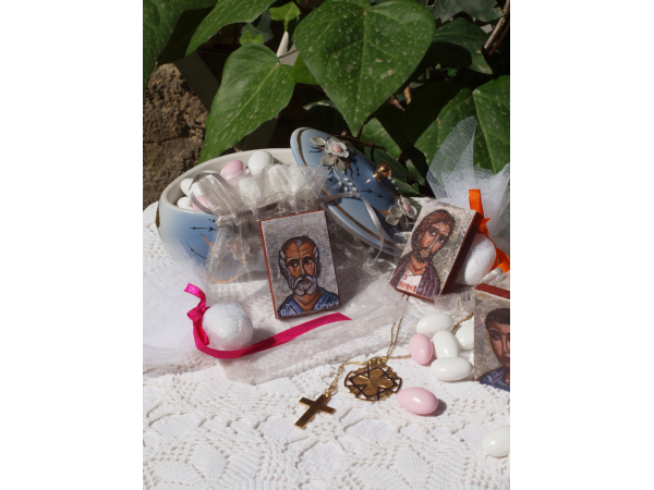 The icons along with christening gifts and treats
