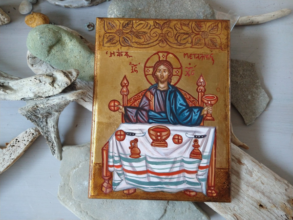 hand painted art egg tempera on carved wood