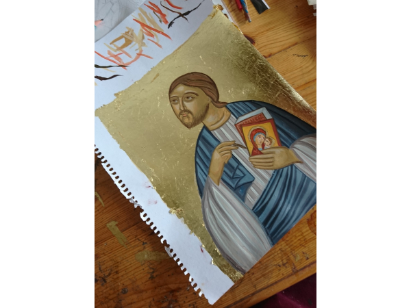 making St Loukas on canson paper