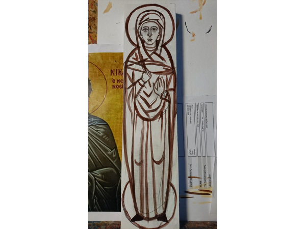 Drawing of the female Saint