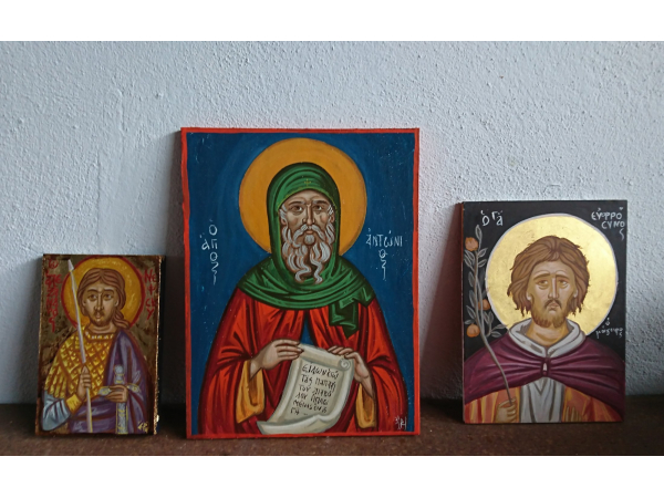 St Antonius with St Euphrosynos and St Alexander Nevsky