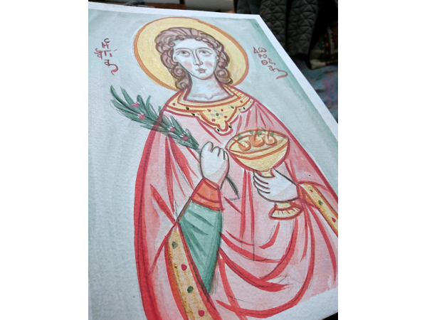Patron of gardeners holding fruits and flowers