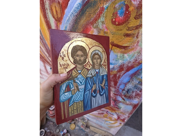 Painted by hand byzantine icon