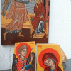 A traditional and a contemporary version of the Annunciation Scene