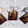 Art prints on wood with a thread