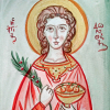 St Dorothy painted with red and green