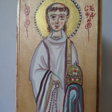 St Stefanus holding a censer and a miniature church building