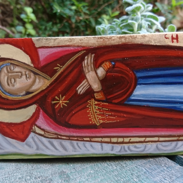 hand painted byzantine icon Mother of God