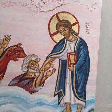 Lord saves Peter from waves-