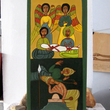 Coptic art with the burial of Christ
