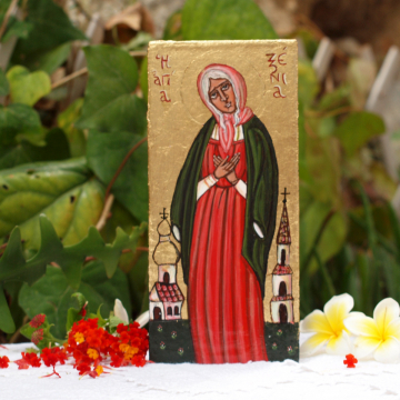 Hand painted icon of the blessed Saint Xenia