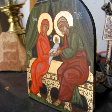 Arch shaped icon of Sts Joachim and Anne with Baby Theotokos