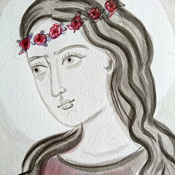 A female saint with India Ink
