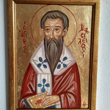 Framed painting of St Basil