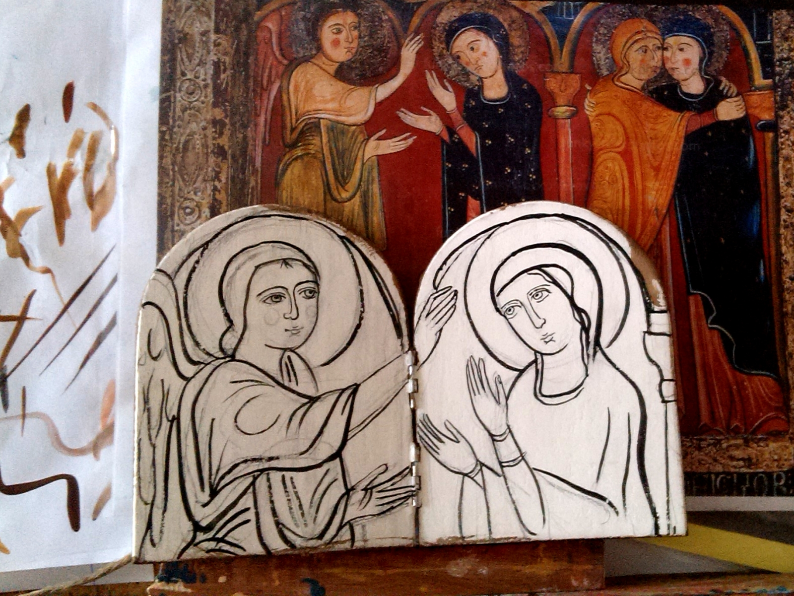 Wooden diptych of annunciation original icon by angelicon for Artiste peintre catalan