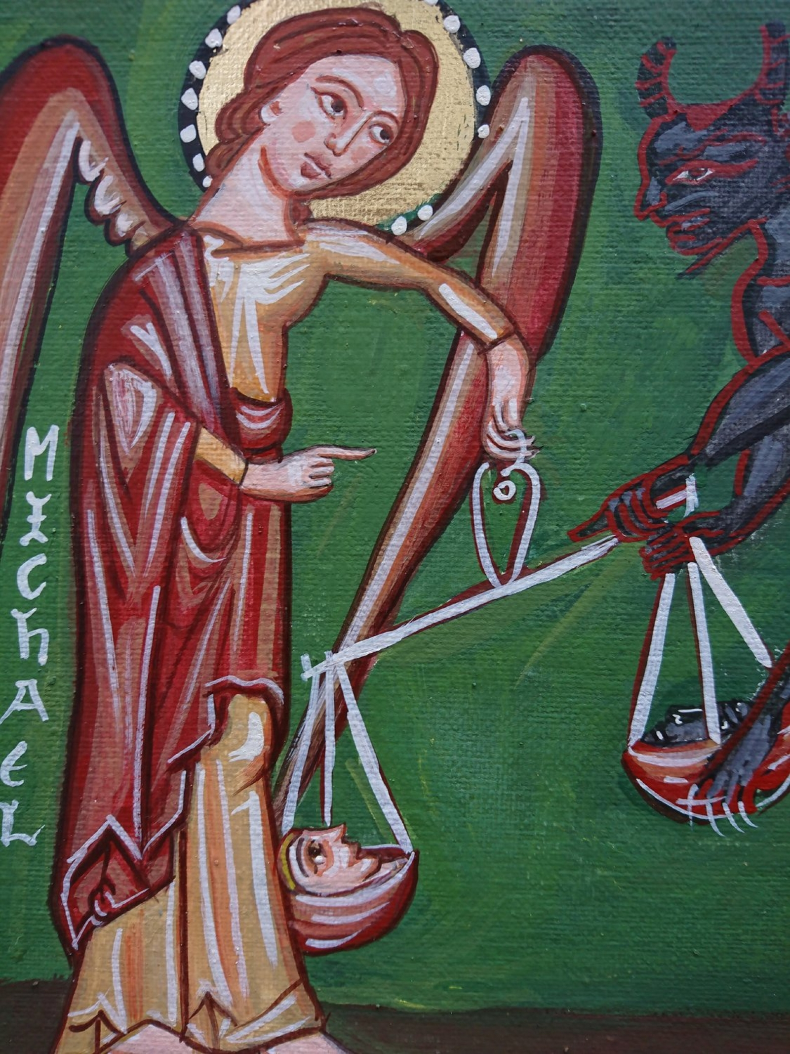 St Michael with the scales of justice- painting medieval angels and devils,  judgement day eggtempera on canvas | Angelicon
