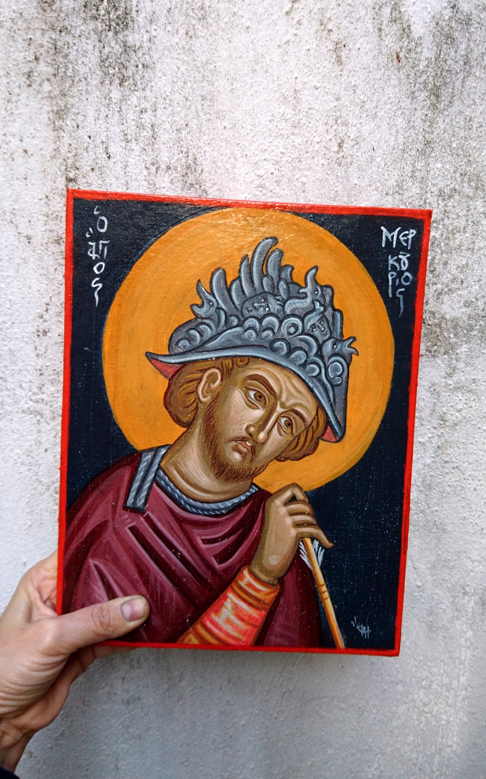 Saint Mercurius Contemporary Byzantine Art Craquelure Icon With The Patron Of Commerce Holy Iconography