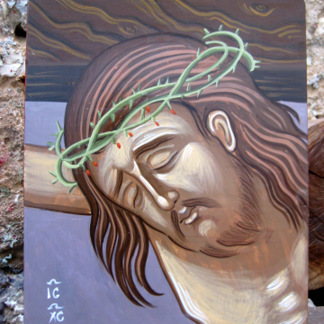 Crucifixion Icon, Painting of the Passion of Christ -eggtempera on plywood sacred art and hagiogrphy