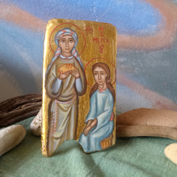 Saints Martha and Mary of Bethany in driftwood- Myrrh-bearers icon, Sisters of Lazarus original religious art of Crete in beach wood