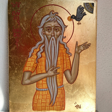 St Paul of Thebes Abba Pola -byzantine icon of the first Hermit- Desert saints and Fathers ascetic tradition painting and icons