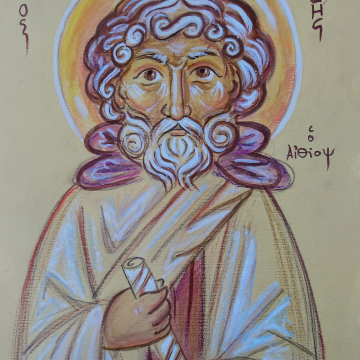 Abba Moses the Black or the Ethiopian, St Moses the Strong or the robber Colored Drawing of the Desert unframed