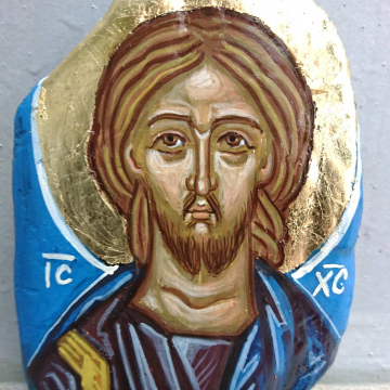 The icon of Jesus Christ in beachwood - Eggtempera painting on specially treated driftwood