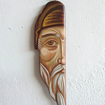 Saint Abba Pambo of Nitria Driftwood painting of the Desert father - orthodox art and iconography OOAK painted natural sculpture