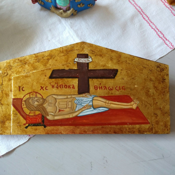 Icon of Epitaphios Byzantine Lamentation of Christ -  hand painted Apokathilosis Deposition from the Cross