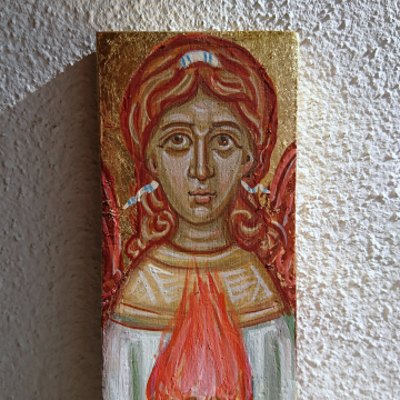 Archangel Uriel miniature painting- Byzantine Icon of the Fire of Gor Eggtempera in repurposed wood spiritual angel art