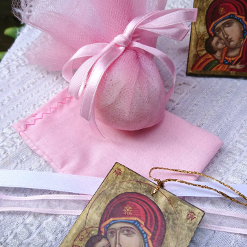 Hanging charm Baptism favors of Panagia 40 pcs mini byzantine Icons of the All Holy Theotokos for a baby baptism- Orthodox bonbonniere gift