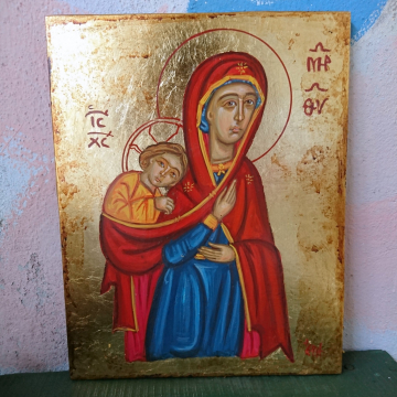 Baby wearing Madonna byzantine icon of Theotokos carying Child Christ - 22 x 28cm  Painted by hand contemporary original religious art