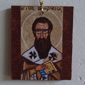 St Basil the Great Icon charm mini Hanging bomboniere of the orthodox Saint  icon favors-original naive art  keepsake and guest gift