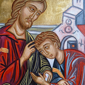 The Beloved Disciple -hand painted religious icon of Jesus - eggtempera on canvas scenes from the Passion of Christ byby angelicon