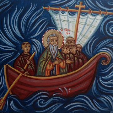 Saint Brendan of Clonfert  or the Navigator- Voyage to the island of the Blessed- Painting of the Irish Saint Contemporary Religious art egg tempera on wood