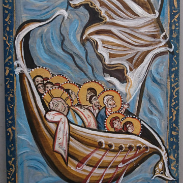 Jesus Calming the storm in the  Sea of Galilee- study of Hitda Codex- acrylics on wood - Fear and faith  Medieval European art and tradition