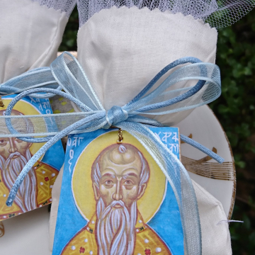 Baby boy bomboniere - 25 Baptism gifts with the icon of Saint Charalambos Ecru white fabric tulle and sky blue ribbons- Orthodox saint christening favours religious gifts and mementos
