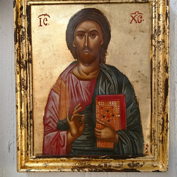 Byzantine icon of Jesus Christ- Framed Pantocrator painting- Eggtempera on canson paper and vintage frame iconography of Greece antique look painting religious