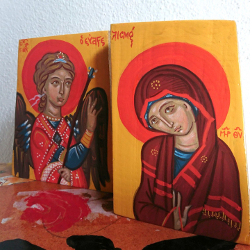 A Contemporary Beautiful Gate with Evangelismos - Royal Doors Abstract Twofold with Annunciation icon- two pieces Archangel Gabriel and Theotokos Mary OOAK painting Eggtempera on Eucalyptus