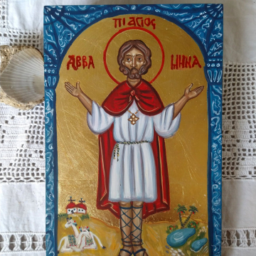 Made to order byzantine icon of St Mina Custom made painted in Coptic Style Abba Menas of Egypt