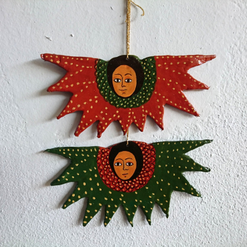 Set of Two Ethiopian Coptic Angels Ornaments- Ethnic African Art primitive decor childrens room decoration