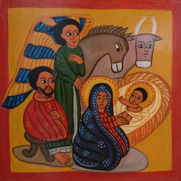 Nativity of Christ painting on wood Coptic inspired Art African sacred art iconography Paintings of Ethiopia