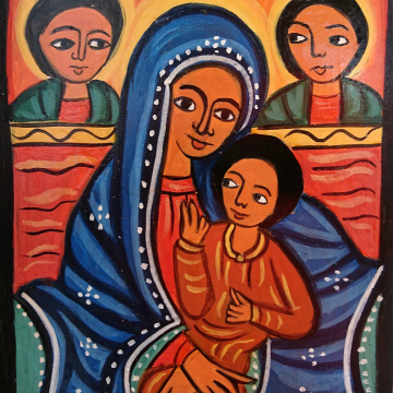 Coptic Madonna Holy Mother and Christ painting on wood  Ethiopian inspired  sacred art iconography Paintings of Africa