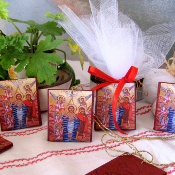 Mini Baptism favor- 100 pcs Free shipping icon gifts with the  Baptism of Christ - christening favors coptic naive epiphany or Theophaneia