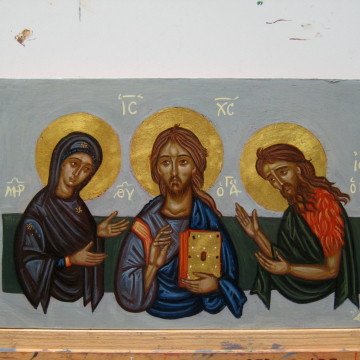 Deesis icon - Contemporary religious art and iconograhy of Greece painted by hand eggtempra on wood- Icons of Christ