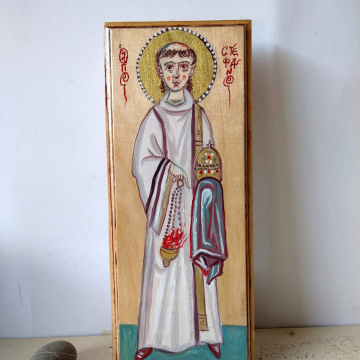 Contemporary icon of St Stephen the First Christian Martyr- Acrylics on a carved panel Saint Stefanus sacred iconography
