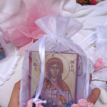 St Thekla icon bonboniere 10 pieces organza bags handcrocheted flowers sugar coated almonds tulle- baby girl baptism