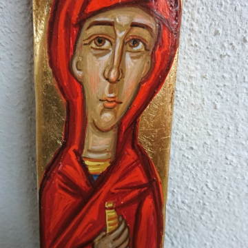 Holy Myrrh-bearer contemporary religious painting in Driftwood - OOAK icon eggtempera on reused wood