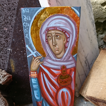 Saint Anastasia deliverer from Portions- Contemporary byzantine icon female saints and martyrs christian art of Greece