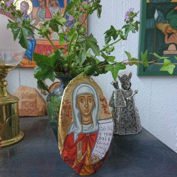 St Emmelia of Caesarea, Holy and righteous St Emily Emilia mother of five Saints, original contemporary byzantine art greek iconography by angelicon